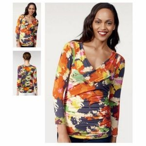 Cabi 893 Abstract Ruched Top Blouse Medium